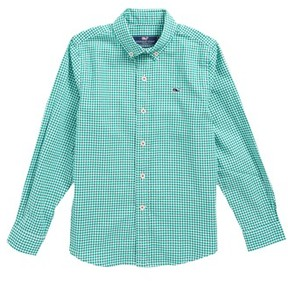Vineyard Vines Boy's Old Town Gingham Whale Shirt