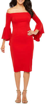 Bisou Bisou 3/4 Bell Sleeve Sheath Dress