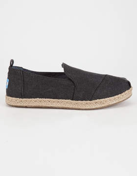 Toms Black Washed Womens Alpargata Shoes