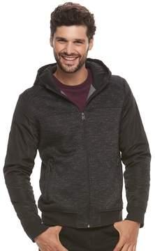 Marc Anthony Men's Slim-Fit Mixed Media Hooded Bomber Jacket