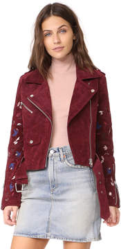 Driftwood Embroidered Suede Moto Jacket