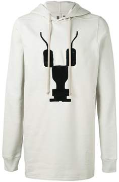 Rick Owens embroidered long hoodie