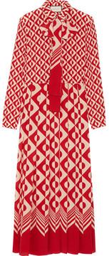 Gucci - Printed Silk Crepe De Chine Midi Dress - Brick
