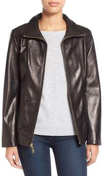 Ellen Tracy Stand Collar Genuine Leather Jacket