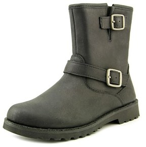 UGG K Harwell Youth Round Toe Leather Black Ankle Boot.