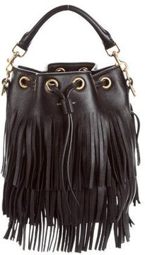 Saint Laurent Small Fringed Emmanuelle Bucket Bag - BLACK - STYLE