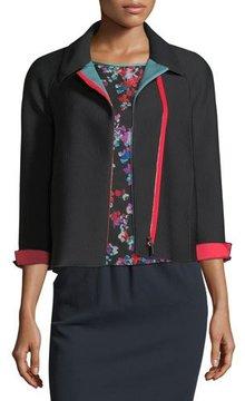 Emporio Armani Zip-Front 3/4-Sleeves Honeycomb-Textured Jacket