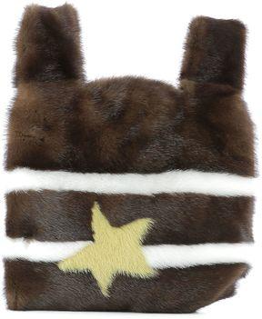 Brown Mink's Fur Handle Bag
