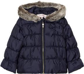 Lili Gaufrette Navy Hooded Puffer Coat with Faux Fur Hood