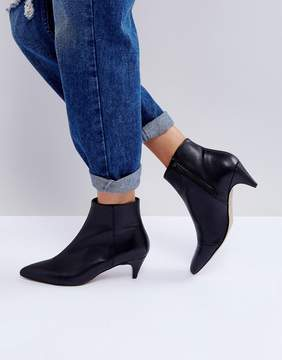 Asos REBECCA Leather Kitten Heeled Boots