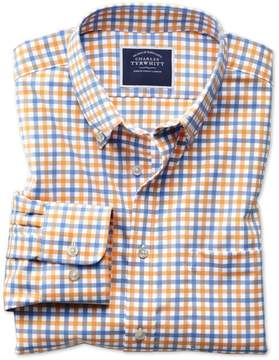 Charles Tyrwhitt Classic Fit Button-Down Non-Iron Twill Yellow and Sky Blue Gingham Cotton Casual Shirt Single Cuff Size Large