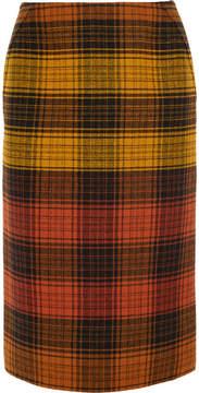 Bottega Veneta Checked Wool Pencil Skirt - Orange