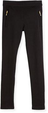 Kate Spade Zip-Trim Ponte Leggings, Black, Size 7-14