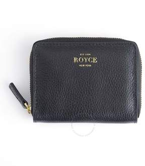 Royce Leather Royce Black Zippered Credit Card Case