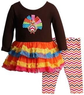 Youngland Baby Girl Turkey Applique Ruffled Dress & Chevron Leggings Set