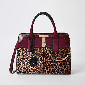 River Island Dark red leopard print tote bag