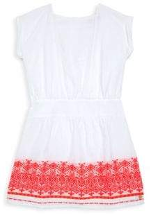 Lili Gaufrette Toddler's& Little Girl's White Sundress With Orange Trim