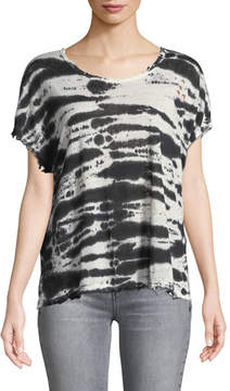 RtA Dawm Round-Neck Short-Sleeve Tie-Dye Linen Top