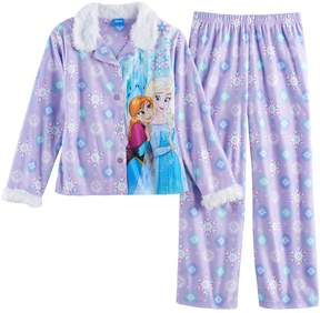 Disney Disney's Frozen Elsa & Anna Girls 4-10 Plush Lined Top & Bottoms Pajama Set