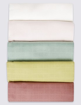 Marks and Spencer 5 Pack Pure Cotton Muslin Squares