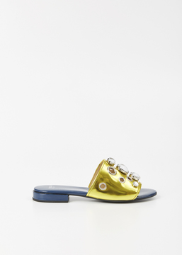 Toga Metallic Yellow / Navy Slide Sandal