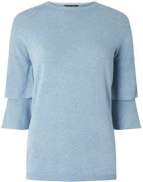Dorothy Perkins Chambray Double Flute Knitted T-Shirt