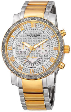 Akribos XXIV Men's Swiss Quartz Multi-Function Two-Tone Diamond Bracelet Watch - 0.06 ctw