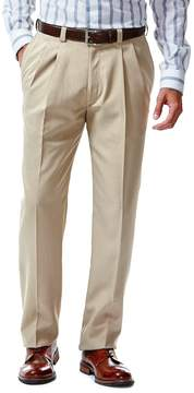 Haggar Men's eCLo Stria Straight-Fit Pleated Dress Pants