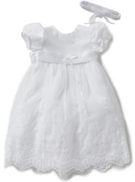 Edgehill Collection Baby Girls Newborn-12 Months Flower Christening Gown & Headband
