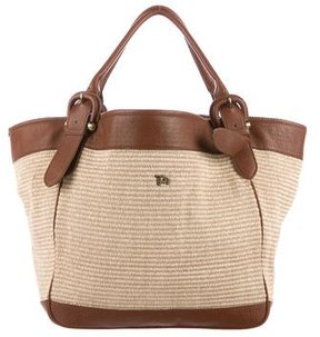 Burberry Leather-Trimmed Straw Tote - BROWN - STYLE