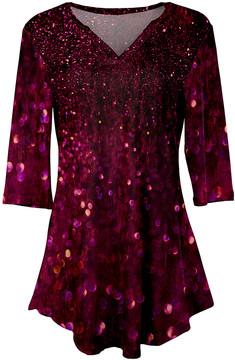 Azalea Fuchsia Glitter V-Neck Tunic - Women & Plus