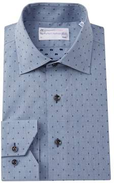 Lorenzo Uomo Diamond Dobby Trim Fit Dress Shirt