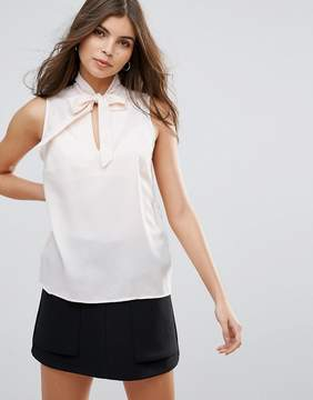 Vila Sleeveless Top With Tie Front