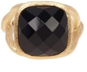 Rivka Friedman 18K Gold Clad Faceted Black Onyx Cushion Ring