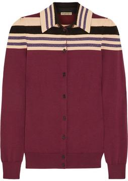 Bottega Veneta Striped Wool-blend Cardigan - Merlot