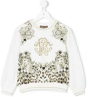 Roberto Cavalli floral leopard print sweatshirt