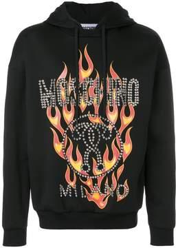 Moschino fired printed hoodie