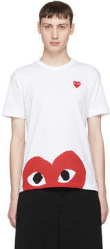 Comme des Garcons White and Red Half Heart T-Shirt