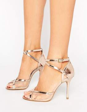 Head Over Heels By Dune Meryl Rose Gold Heeled Sandals
