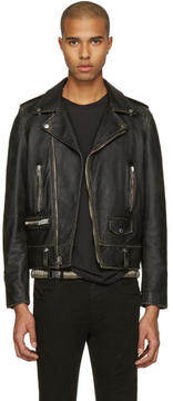 Saint Laurent Black Leather Worn Classic Moto Jacket