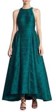 ML Monique Lhuillier Hi-Lo Jacquard Ball Gown