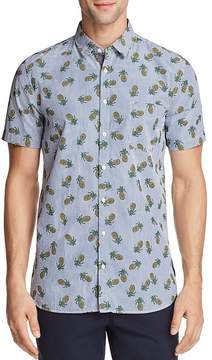 BOSS Orange Cattitude Pineapple Print Short Sleeve Button-Down Shirt