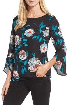 Chaus Women's Kyoto Blossoms Bell Sleeve Blouse