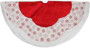 Asstd National Brand 48 Country Cabin Red and White Glitter Snowflake Scallop Christmas Tree Skirt with Faux Fur Border