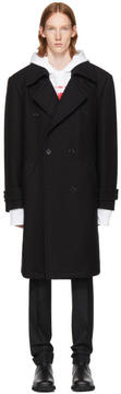 Raf Simons Black Straight Fit Double-Breasted Coat