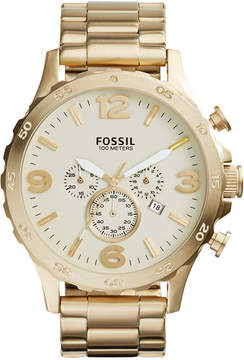 Fossil Men's Chronograph Nate Gold-Tone Stainless Steel Bracelet Watch 50mm JR1479