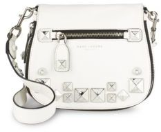 Recruit Small Chipped Studs Leather Saddle Crossbody Bag
