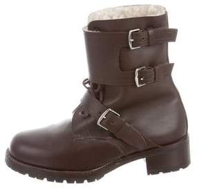 Hermes Shearling-Trimmed Combat Boots