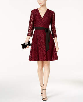Ellen Tracy Lace Faux-Wrap Dress