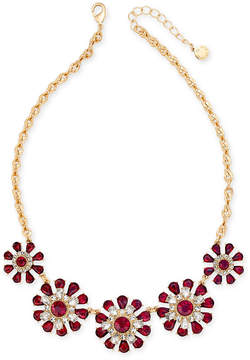 Charter Club Gold-Tone Clear & Red Crystal Flower Statement Necklace, Created for Macy's